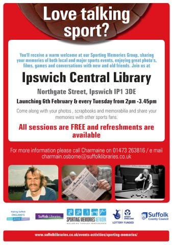 Love Talking Sport? Sporting Memories launch 6th February in Ipswich