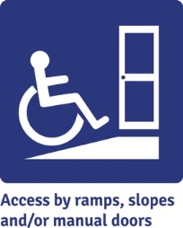 Accessible by ramps, slopes and/or manual doors