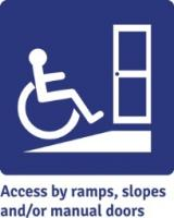 Access by ramps, slopes and/or manual doors