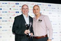 Image: David Swales receiving the Elena Baltacha Awards from Nino Severino